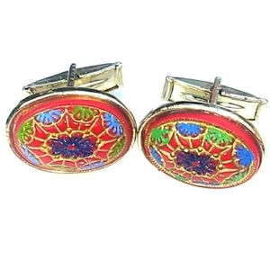 Unique VINTAGE Goldtone HandPainted Cufflinks